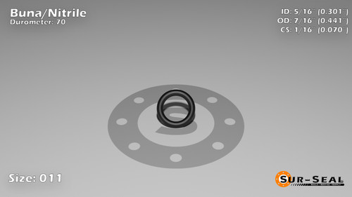 O-Ring, Black BUNA/NBR Nitrile Size: 011, Durometer: 70 Nominal Dimensions: Inner Diameter: 28/93(0.301) Inches (7.65mm), Outer Diameter: 15/34(0.441) Inches (1.12014Cm), Cross Section: 4/57(0.07) Inches (1.78mm) Part Number: ORBN011