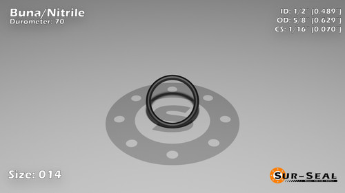 O-Ring, Black BUNA/NBR Nitrile Size: 014, Durometer: 70 Nominal Dimensions: Inner Diameter: 22/45(0.489) Inches (1.24206Cm), Outer Diameter: 39/62(0.629) Inches (1.59766Cm), Cross Section: 4/57(0.07) Inches (1.78mm) Part Number: ORBN014