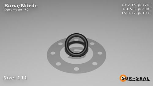 O-Ring, Black BUNA/NBR Nitrile Size: 111, Durometer: 70 Nominal Dimensions: Inner Diameter: 39/92(0.424) Inches (1.07696Cm), Outer Diameter: 46/73(0.63) Inches (1.6002Cm), Cross Section: 7/68(0.103) Inches (2.62mm) Part Number: ORBN111