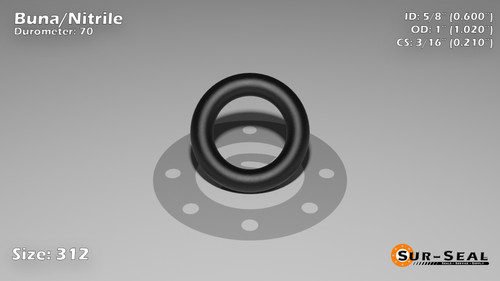 O-Ring, Black BUNA/NBR Nitrile Size: 312, Durometer: 70 Nominal Dimensions: Inner Diameter: 3/5(0.6) Inches (1.524Cm), Outer Diameter: 1 1/50(1.02) Inches (2.5908Cm), Cross Section: 17/81(0.21) Inches (5.33mm) Part Number: ORBN312