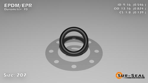 O-Ring, Black EPDM/EPR/Ethylene/Propylene Size: 207, Durometer: 70 Nominal Dimensions: Inner Diameter: 6/11(0.546) Inches (1.38684Cm), Outer Diameter: 14/17(0.824) Inches (2.09296Cm), Cross Section: 5/36(0.139) Inches (3.53mm) Part Number: OREPD207