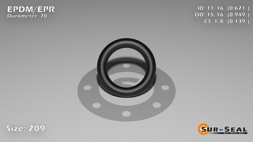 O-Ring, Black EPDM/EPR/Ethylene/Propylene Size: 209, Durometer: 70 Nominal Dimensions: Inner Diameter: 51/76(0.671) Inches (1.70434Cm), Outer Diameter: 93/98(0.949) Inches (2.41046Cm), Cross Section: 5/36(0.139) Inches (3.53mm) Part Number: OREPD209