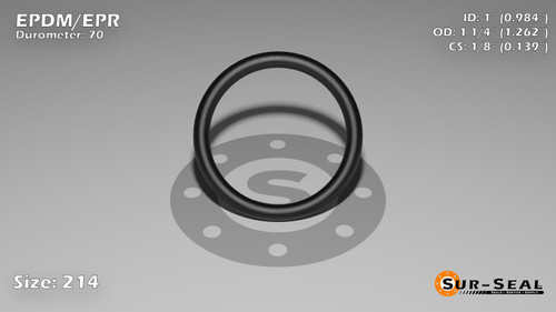 O-Ring, Black EPDM/EPR/Ethylene/Propylene Size: 214, Durometer: 70 Nominal Dimensions: Inner Diameter: 61/62(0.984) Inches (2.49936Cm), Outer Diameter: 1 11/42(1.262) Inches (3.20548Cm), Cross Section: 5/36(0.139) Inches (3.53mm) Part Number: OREPD214