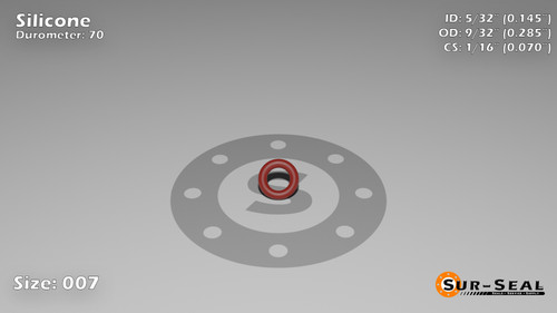 O-Ring, Orange Vinyl Methyl Silicone Size: 007, Durometer: 70 Nominal Dimensions: Inner Diameter: 10/69(0.145) Inches (3.68mm), Outer Diameter: 2/7(0.285) Inches (0.285mm), Cross Section: 4/57(0.07) Inches (1.78mm) Part Number: ORSIL007