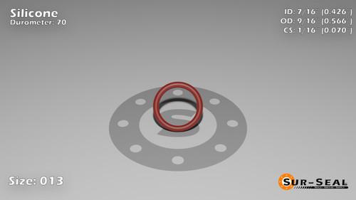 O-Ring, Orange Vinyl Methyl Silicone Size: 013, Durometer: 70 Nominal Dimensions: Inner Diameter: 23/54(0.426) Inches (1.08204Cm), Outer Diameter: 30/53(0.566) Inches (1.43764Cm), Cross Section: 4/57(0.07) Inches (1.78mm) Part Number: ORSIL013