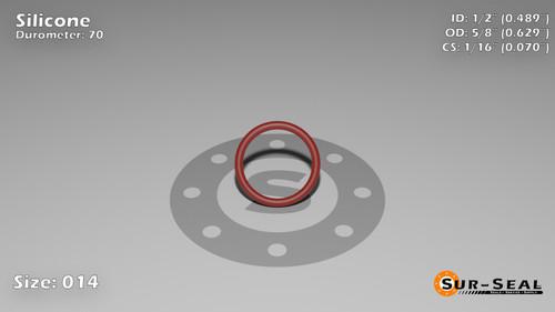 O-Ring, Orange Vinyl Methyl Silicone Size: 014, Durometer: 70 Nominal Dimensions: Inner Diameter: 22/45(0.489) Inches (1.24206Cm), Outer Diameter: 39/62(0.629) Inches (1.59766Cm), Cross Section: 4/57(0.07) Inches (1.78mm) Part Number: ORSIL014