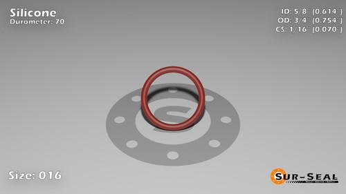 O-Ring, Orange Vinyl Methyl Silicone Size: 016, Durometer: 70 Nominal Dimensions: Inner Diameter: 35/57(0.614) Inches (1.55956Cm), Outer Diameter: 46/61(0.754) Inches (1.91516Cm), Cross Section: 4/57(0.07) Inches (1.78mm) Part Number: ORSIL016