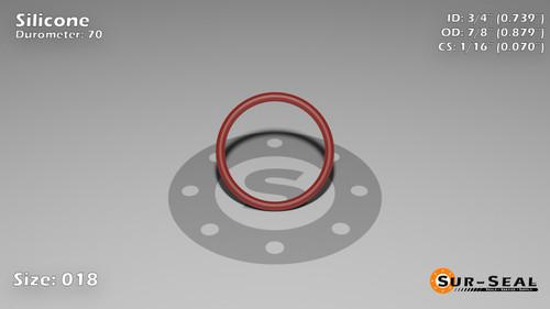 O-Ring, Orange Vinyl Methyl Silicone Size: 018, Durometer: 70 Nominal Dimensions: Inner Diameter: 17/23(0.739) Inches (1.87706Cm), Outer Diameter: 29/33(0.879) Inches (2.23266Cm), Cross Section: 4/57(0.07) Inches (1.78mm) Part Number: ORSIL018