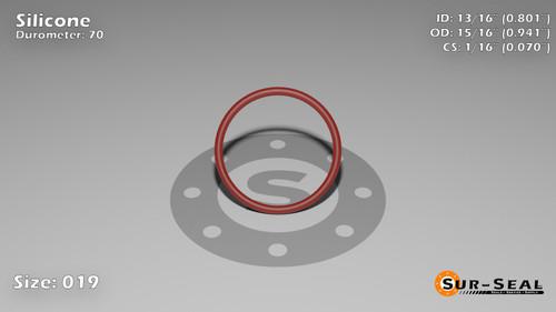 O-Ring, Orange Vinyl Methyl Silicone Size: 019, Durometer: 70 Nominal Dimensions: Inner Diameter: 4/5(0.801) Inches (2.03454Cm), Outer Diameter: 16/17(0.941) Inches (2.39014Cm), Cross Section: 4/57(0.07) Inches (1.78mm) Part Number: ORSIL019