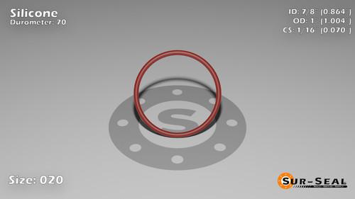 O-Ring, Orange Vinyl Methyl Silicone Size: 020, Durometer: 70 Nominal Dimensions: Inner Diameter: 19/22(0.864) Inches (2.19456Cm), Outer Diameter: 1(1.004) Inches (2.55016Cm), Cross Section: 4/57(0.07) Inches (1.78mm) Part Number: ORSIL020