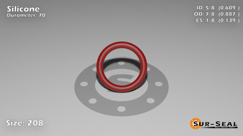 O-Ring, Orange Vinyl Methyl Silicone Size: 208, Durometer: 70 Nominal Dimensions: Inner Diameter: 14/23(0.609) Inches (1.54686Cm), Outer Diameter: 55/62(0.887) Inches (2.25298Cm), Cross Section: 5/36(0.139) Inches (3.53mm) Part Number: ORSIL208