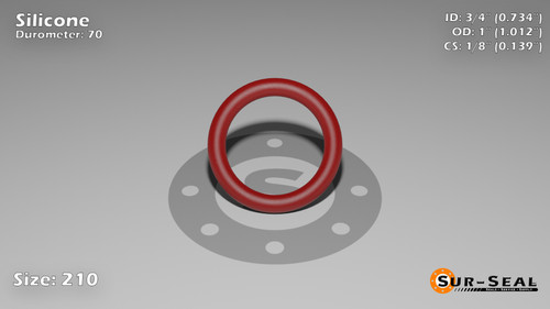 O-Ring, Orange Vinyl Methyl Silicone Size: 210, Durometer: 70 Nominal Dimensions: Inner Diameter: 69/94(0.734) Inches (1.86436Cm), Outer Diameter: 1 1/83(1.012) Inches (2.57048Cm), Cross Section: 5/36(0.139) Inches (3.53mm) Part Number: ORSIL210