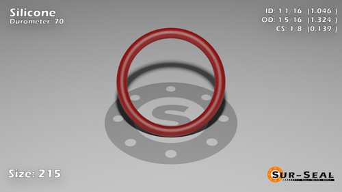 O-Ring, Orange Vinyl Methyl Silicone Size: 215, Durometer: 70 Nominal Dimensions: Inner Diameter: 1 4/87(1.046) Inches (2.65684Cm), Outer Diameter: 1 23/71(1.324) Inches (3.36296Cm), Cross Section: 5/36(0.139) Inches (3.53mm) Part Number: ORSIL215