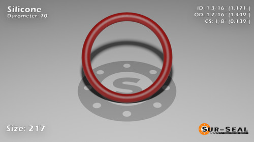O-Ring, Orange Vinyl Methyl Silicone Size: 217, Durometer: 70 Nominal Dimensions: Inner Diameter: 1 13/76(1.171) Inches (2.97434Cm), Outer Diameter: 1 22/49(1.449) Inches (3.68046Cm), Cross Section: 5/36(0.139) Inches (3.53mm) Part Number: ORSIL217