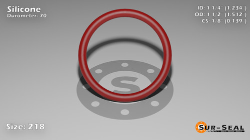 O-Ring, Orange Vinyl Methyl Silicone Size: 218, Durometer: 70 Nominal Dimensions: Inner Diameter: 1 11/47(1.234) Inches (3.13436Cm), Outer Diameter: 1 21/41(1.512) Inches (3.84048Cm), Cross Section: 5/36(0.139) Inches (3.53mm) Part Number: ORSIL218