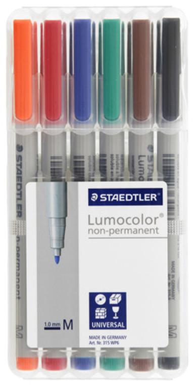Staedtler Lumocolor Non-Permanent Wet-Erase Marker 6-Pack