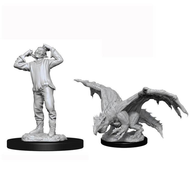 Unpainted NPC Dragon, Wyrmling Green & Afflicted Elf NM 90029