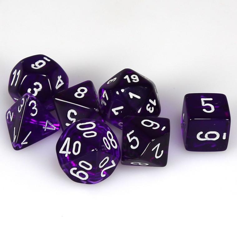 CHX Polyhedral Translucent Purple w/ White 23077