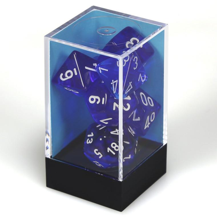CHX Polyhedral Translucent Blue w/ White 23076