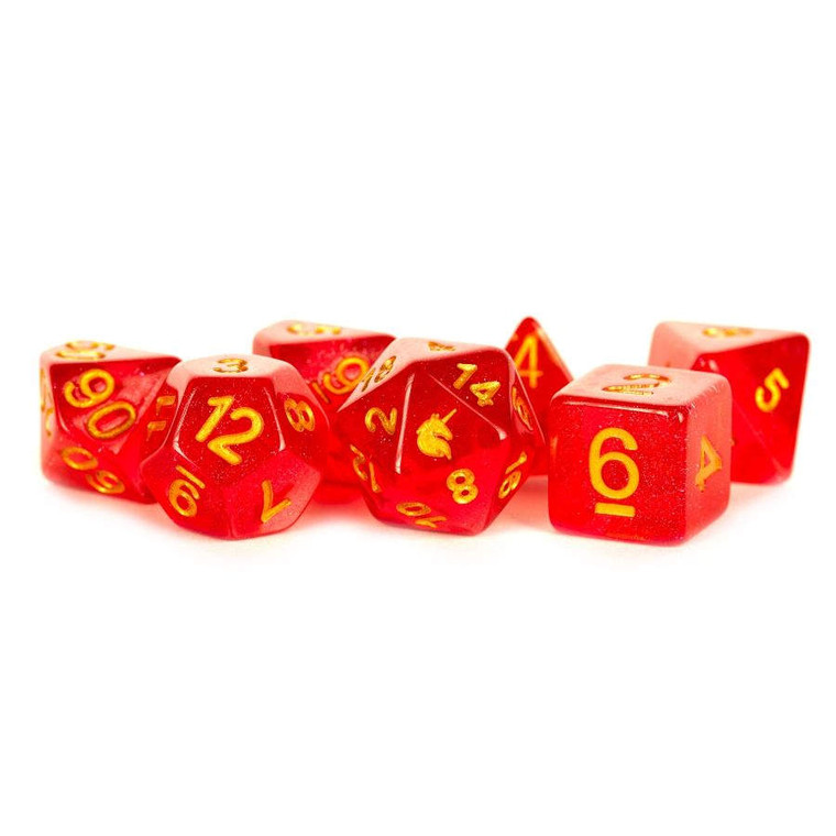 7ct Dice Poly Set: Unicorn Red