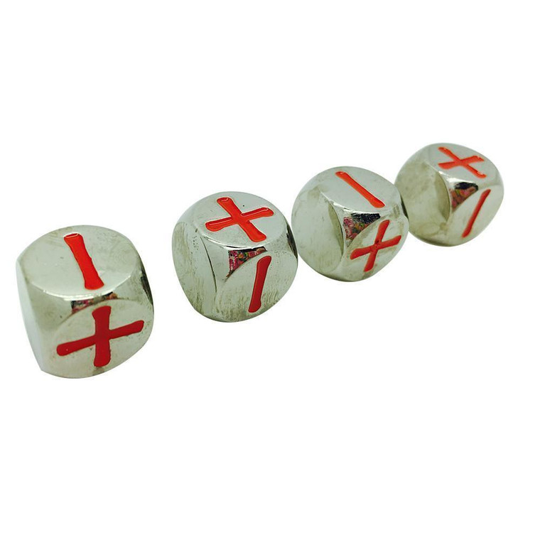 4 Fate Metal Dice Set - Lycanthrope Silver