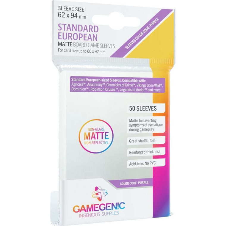 62mm x 94mm 50ct Standard European Matte Sleeves Purple Gamegenic
