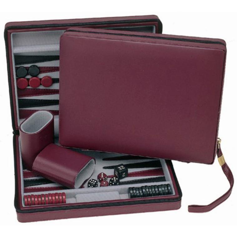 """Backgammon 9"""" Burgundy Travel"""