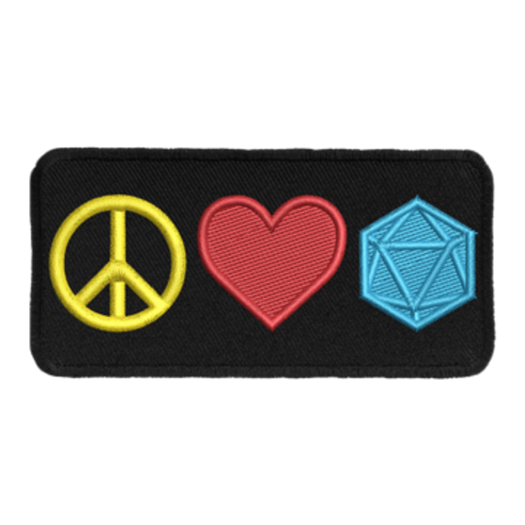 Iron-On Patch - Peace Love and D20