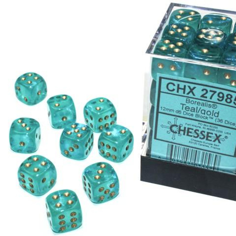 CHX D6 12mm 36 Borealis Teal w/ Gold 27985