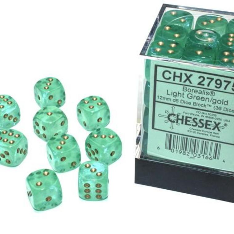 CHX D6 12mm 36 Borealis Light Green w/ Gold 27975