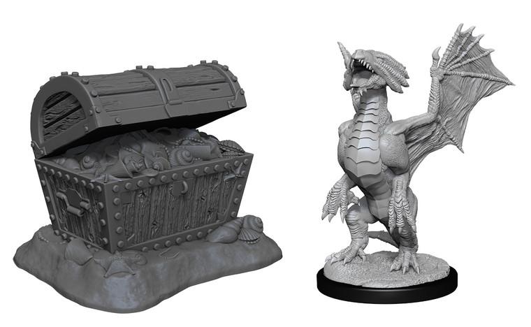 Unpainted NPC Dragon, Wyrmling Bronze & Pile of Seafound Treasure NM 90152