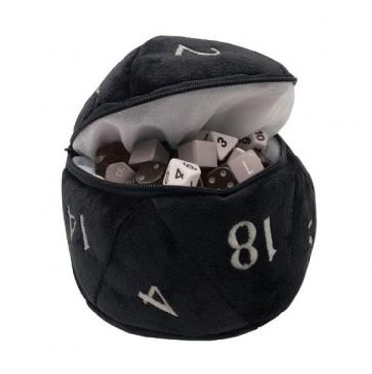 D20 Plush Dice Bag Black