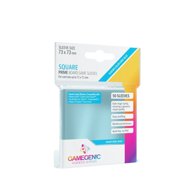 73mm x 73mm 50ct Square Prime Sleeves Blue Gamegenic