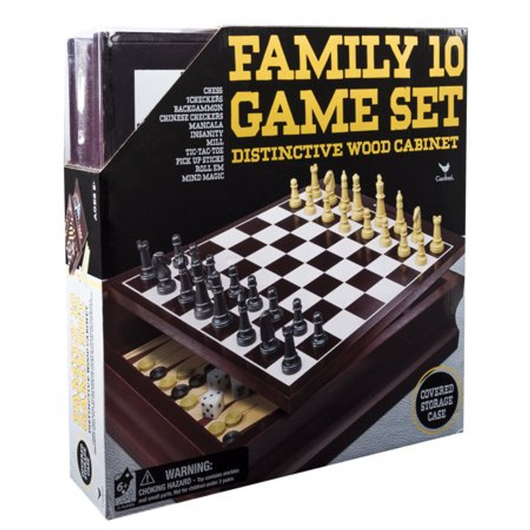 Family 10 Game Set Wood Cabinet