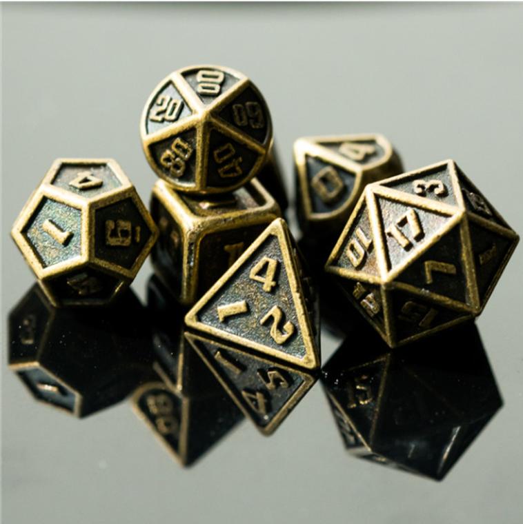 Mini Metal Bronze Dice