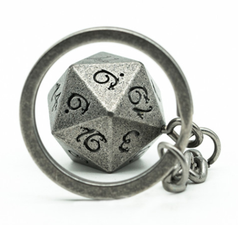 Key Chain - Silver D20