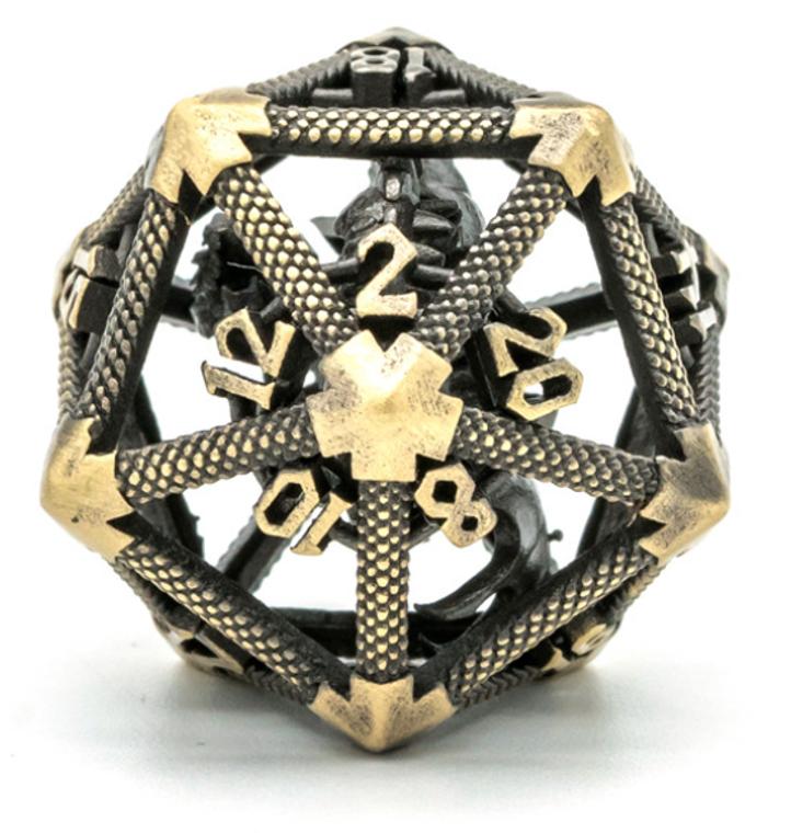 Bronze Hollow Metal D20 w/ Internal Dragon