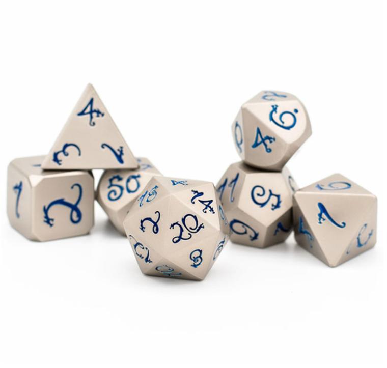 Pearl Nickel Blue Dragon Font Metal Dice