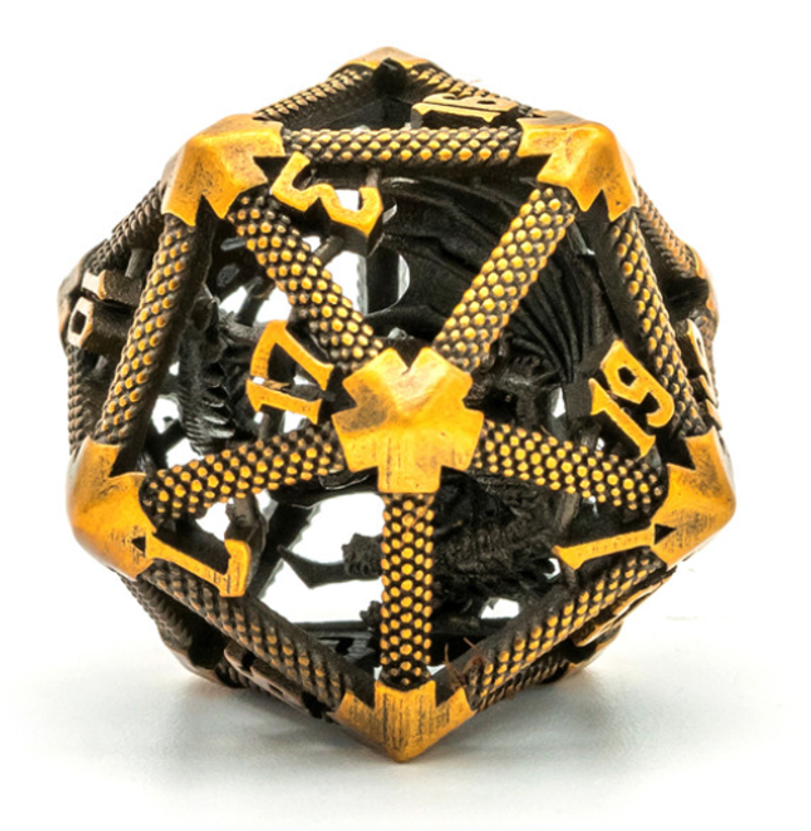 Gold Hollow Metal D20 w/ Internal Dragon