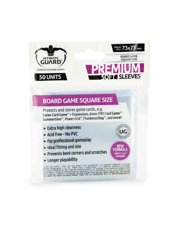 73mm x 73mm 50ct Square Sleeves Ultimate Guard
