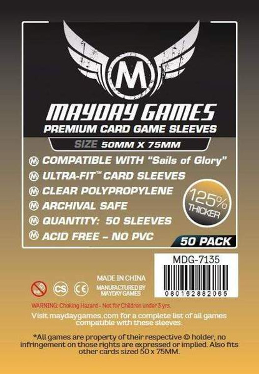 50mm x 75mm 50ct Premium Sails of Glory Sleeves Mayday