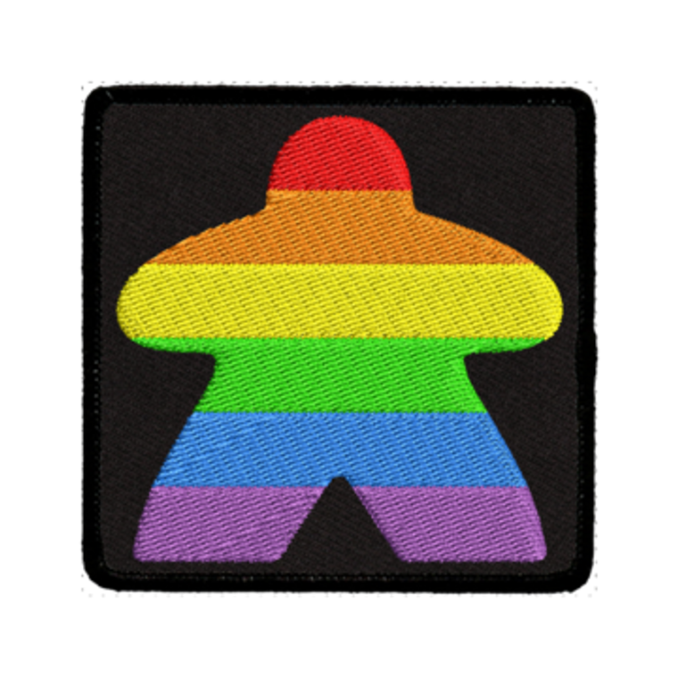 Iron-On Patch - Rainbow Meeple Black