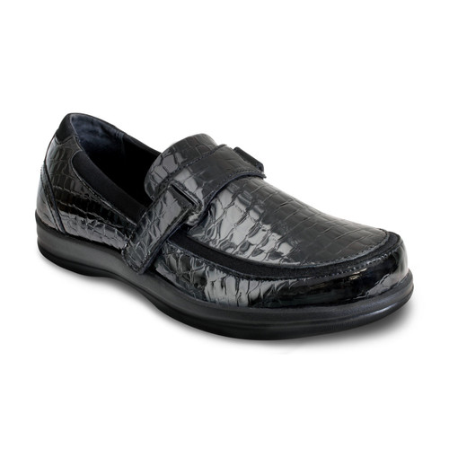 A205W | Women's Petals Evelyn | Black Croc | Apex shoes & flats