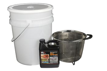 Parts Basket Cleaning Kit.  Includes Parts Strainer, 5-gal pail, 32oz 16x Rust911 Rust Remover, and Lid.  32oz Bottle makes 4-gallons, perfect for 5-gal pail.