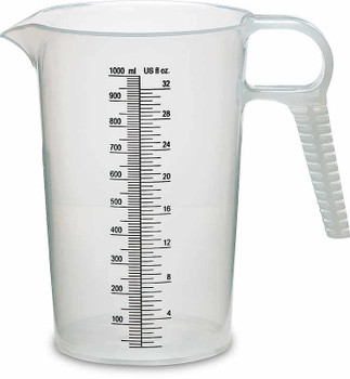 8 oz. Measuring and Pouring Pitcher.  8 oz. / 250 ml capacity.  Polypropylene and graduated every 10 ml / 0.5 oz.  Perfect for measuring Rust911 Rust Remover Concentrate at 8 oz. conc to 1-gallon water.
