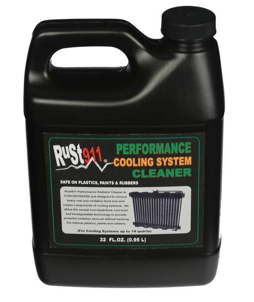 Rust911 Performance Radiator Cleaner and Flush.  Powerful non-hazardous, non-toxic and biodegradable cleaner that does ot harm plastics, paints and rubbers.  Safely cleans steel, cast iron, copper and other surfaces inside of your cooling system.
