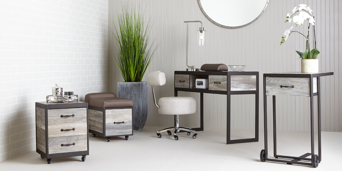 Elora Salon and Spa Furniture Collection in Rustic Wood by Belava