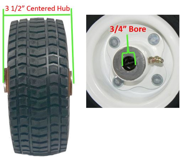 9/3.50-4  Wheel and Tire Assembly 3-1/2″ Centered hub with 3/4″ roller cage bearings