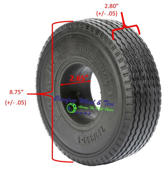 2.80/2.50-4 WIDE (9x2.80) Sawtooth Tread, Handtruck/Cart Tire