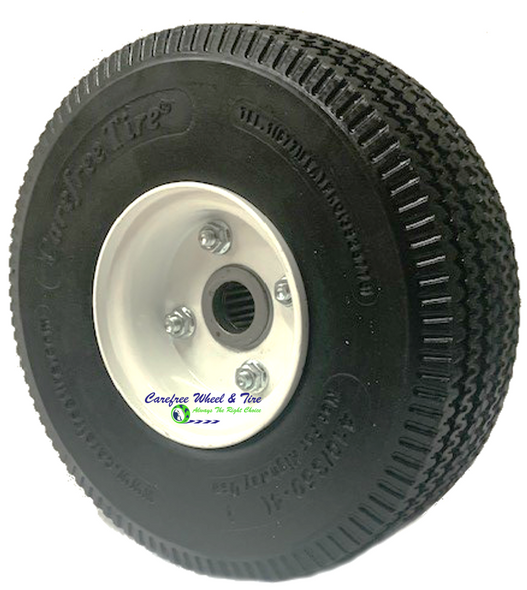 "410/350-4 (10""x3"") Carefree Assy, 3pc Wheel - 2 1/4"" Off centered hub and 1"" Roller Bearings"